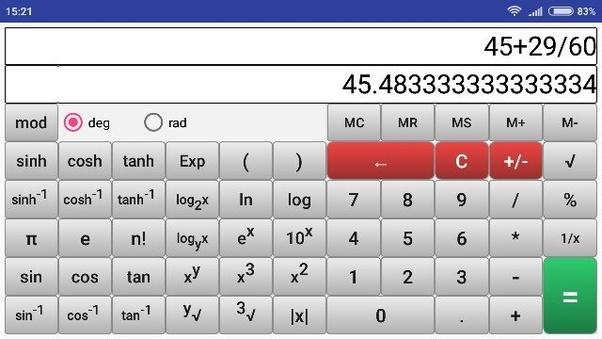 How to calculate cos 45°29' using a GATE virtual calculator