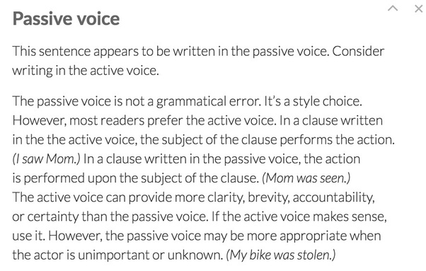 why does grammarly recommend to not use the passive voice in english