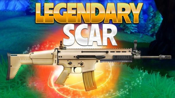 1st gold scar legendary assault rifle 2nd purple scar or blue burst assault rifle if you re the streamer ninja - fortnite golden scar green ar