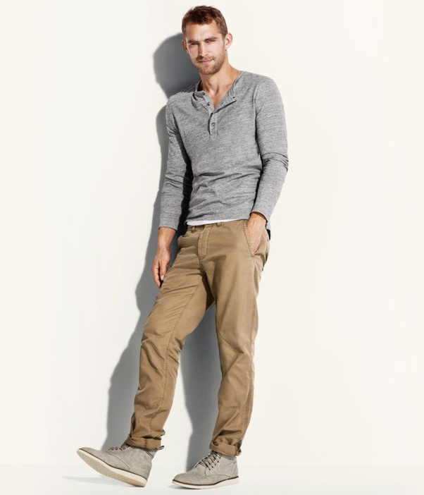 What color shirt with grey pants