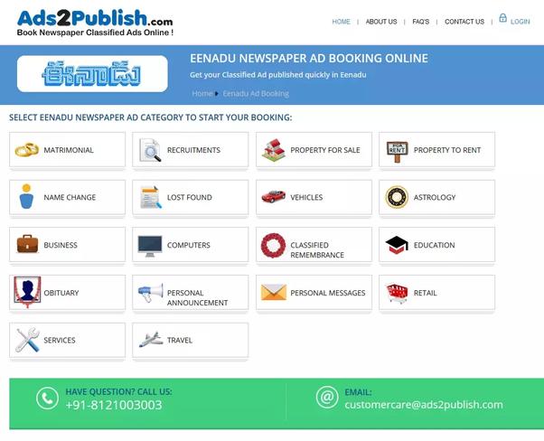 How to book Eenadu newspaper ads online in Hyderabad - Quora