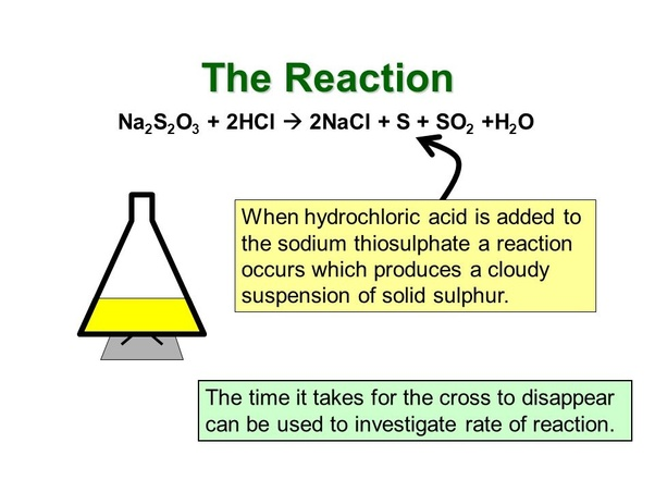 an investigation of the reaction between hcl and sodium thiosulphate Trial run 1 – how concentration of sodium thiosulphate affects rate   hydrochloric acid and recorded the time taken for it to fully react with the acid •  then a.