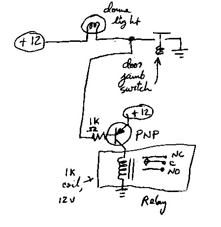 How to rig an automotive electrical relay off a circuit where the ...