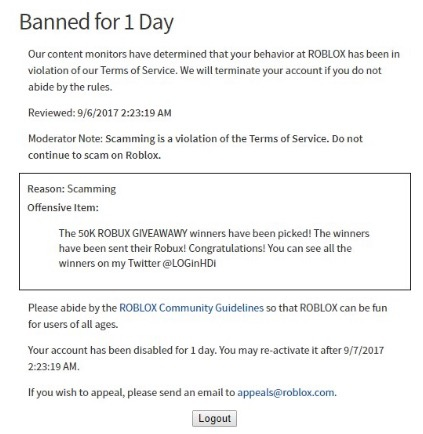 Roblox All Rules How Many Days Can You Get Banned On Roblox For Scamming Quora
