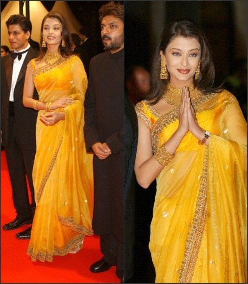 Looking At This Picture Of Aishwarya Rai Bachchan I Don T Think Need To Do A Lot Convincing That Gold Jewellery Goes Well With Yellow Saree And On