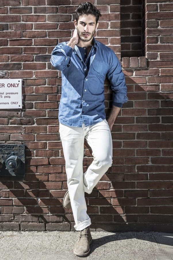 What colour shirt go well with a white pant?
