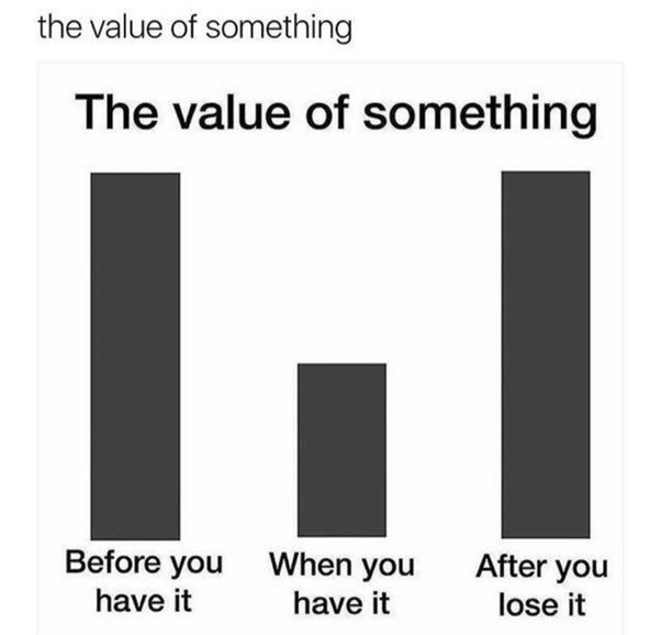 Its All About Will Of People Until It >> Do We Always Value Things And People Only After We Ve Lost Them Quora