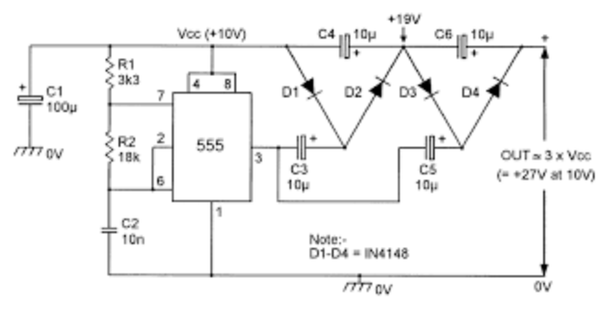 How to make a DC voltage doubler with a DC input - Quora Dc Voltage Doubler Schematic on