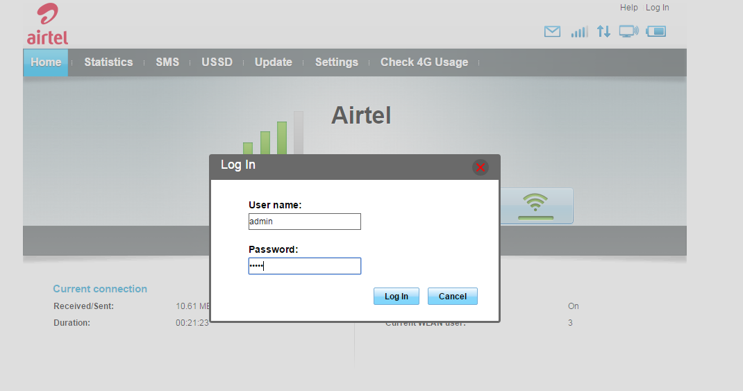 What is the username and password of the Bharti Airtel 4G Wi