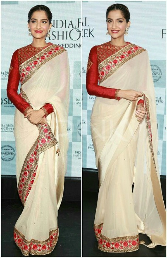 0bbac60dca9188 White saree with black blouse: Another classic combination. A stylish black  blouse, like a sleeveless one, looks superb with white sarees, especially  if the ...