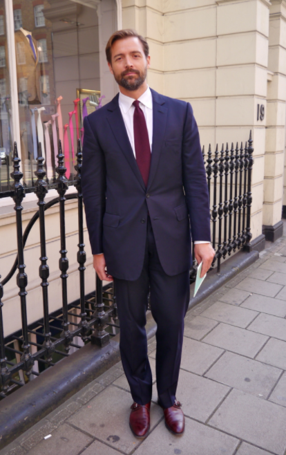 Charcoal Pinstripe Suit With Brown Shoes