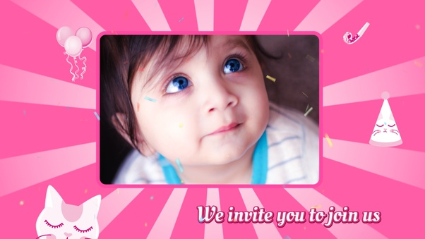 Birthday Invitation Video Girl Version