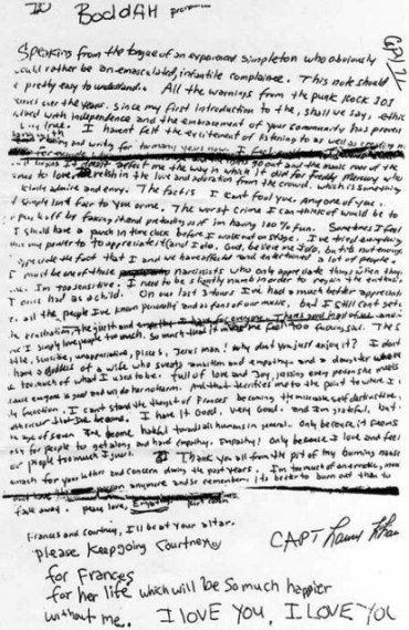 the entire text can be found in this link kurt cobains suicide note