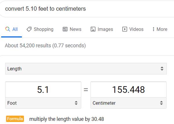 5 feet in centimeters