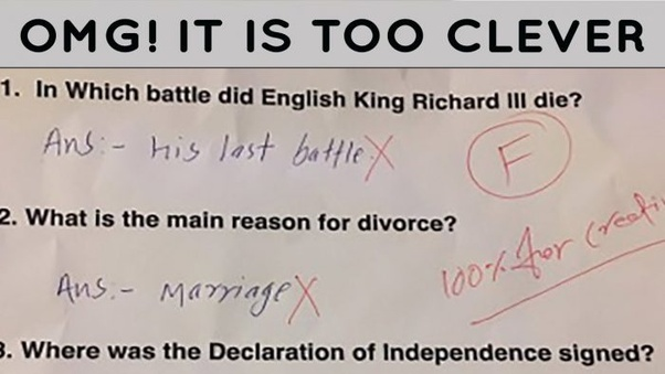 what are some funny kids test answers quora