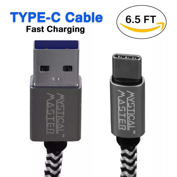 Mystical Master 6FT Nylon BraidedType C Charging & Data Sync USB Cable for All Type C Devices (Grey)