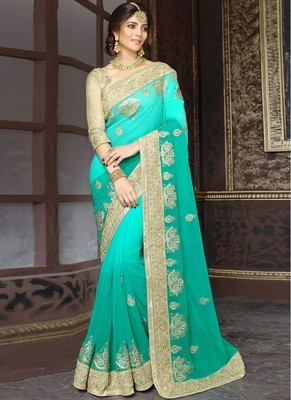 Sea Green Saree Is No Exception Golden Blouse And Looks Gorgeous Wear This Combination For Festivals Special Occasions