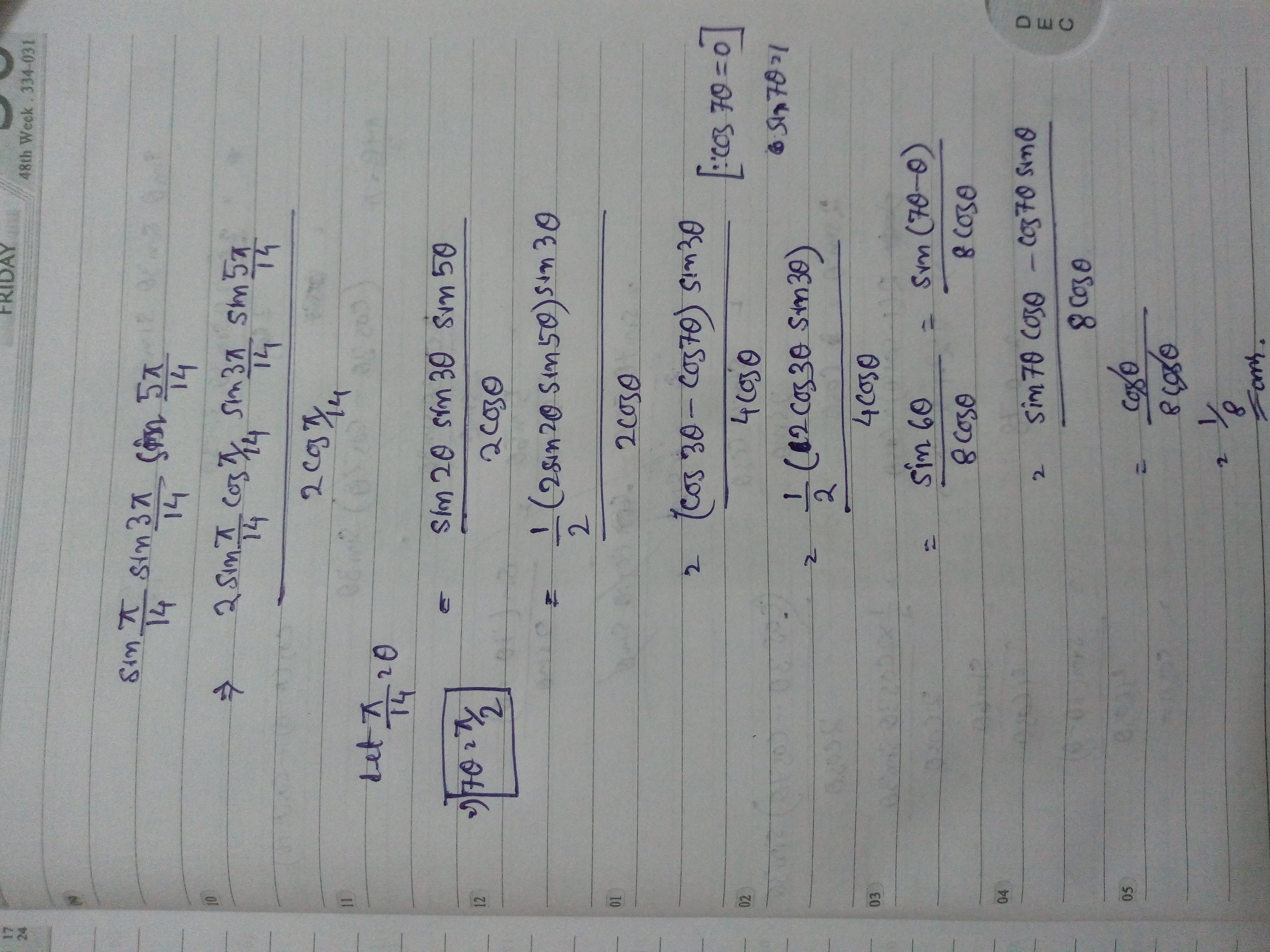 How To Solve Sin P 14 Sin 3p 14 Sin 5p 14 Quora