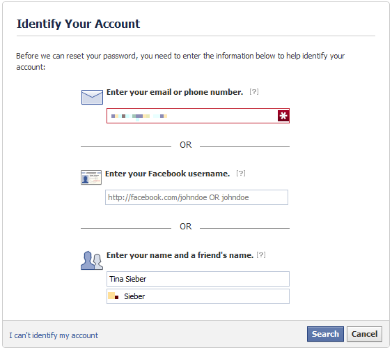 I changed my facebook id password and forgot it i dont know the when you successfully managed to identify your account you will be shown the reset password page see screenshot below before you proceed to reset your ccuart Images