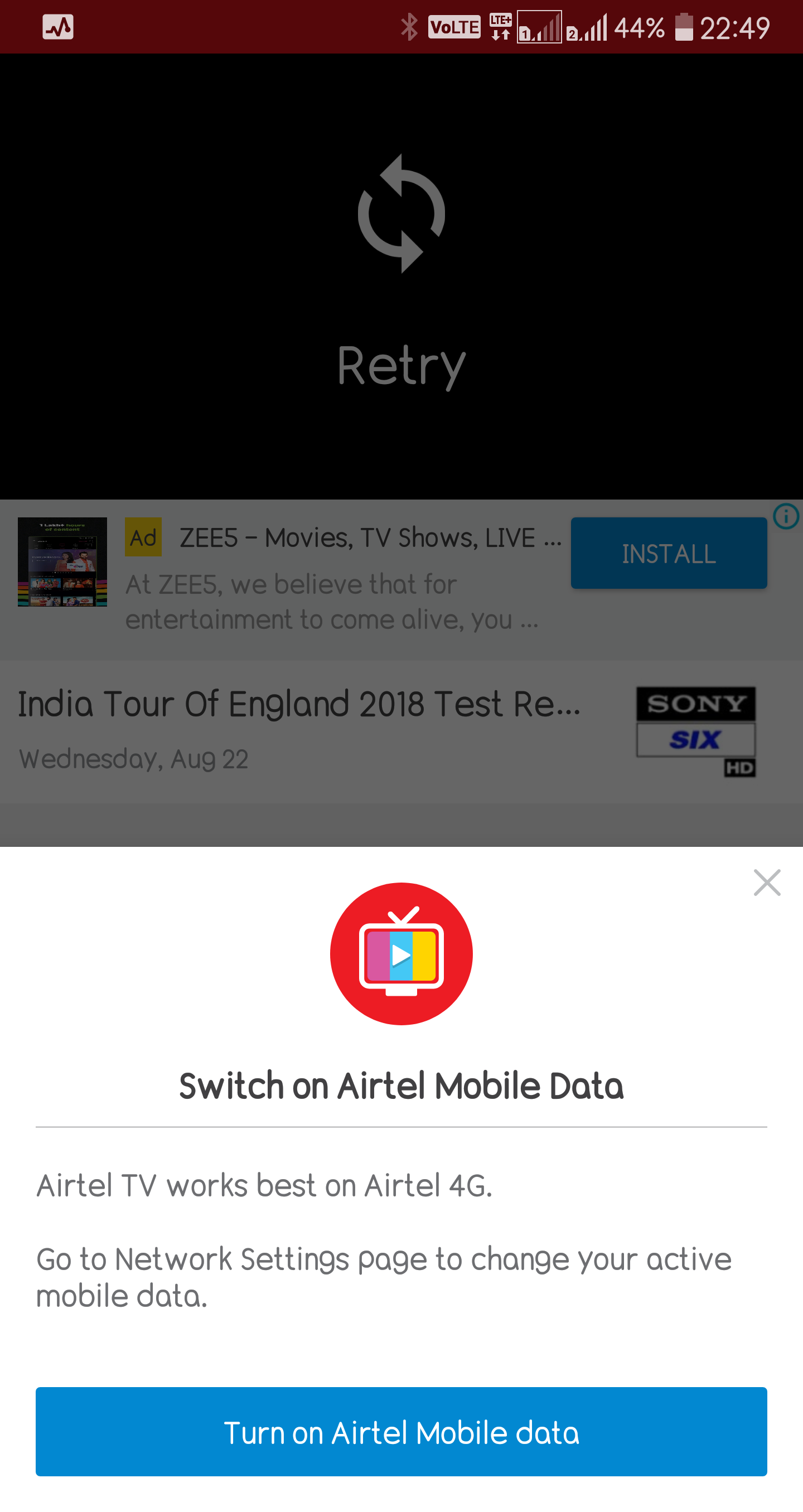 Is Jio denying JioTV access when using the Airtel Internet