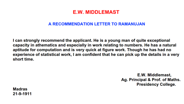 What is the best letter of recommendation you have ever read quora before this letterjob he was roaming door to door to find an employment just to pay his bills source wikipedia article on ramanujan1 thecheapjerseys Images