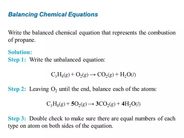 What Is The Balanced Chemical Equation For The Combustion Of Propane
