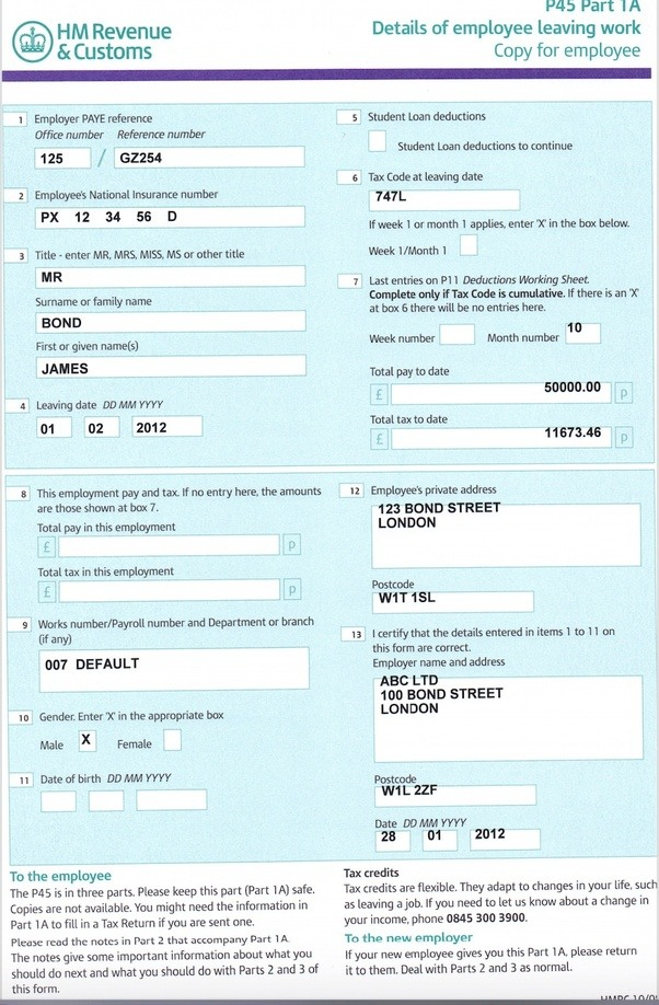 how to change address on p45