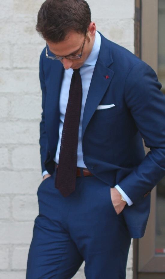 With Navy Blue Suit And Light Blue Shirt You Can Go With Dark Brown Or  Black Or Deep Blue Tie, Purple,grey Even Green Colour One Also. Can Try  Stripes Tie ...