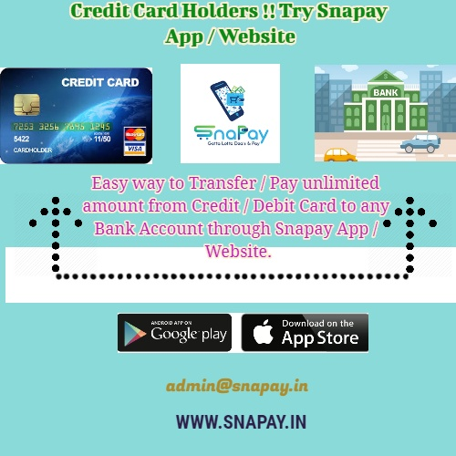 Through Snapay We Can Transfer Pay Unlimited Amount From Credit Debit Card To Any Bank Account The Limit Depends As Per Your