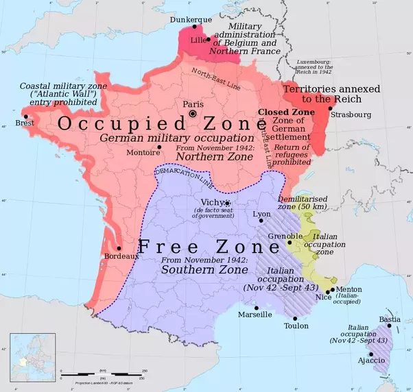Did italy want to annex parts of france before and during world war the lands shown on the map as italian occupation zone including menton a resort town on the mediterranean sea coast and some territories in savoy and gumiabroncs Gallery