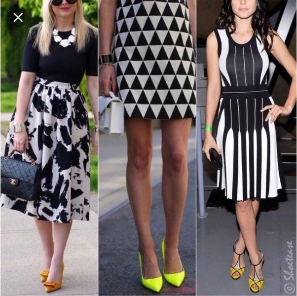 Shoes that looks well with black and white dress