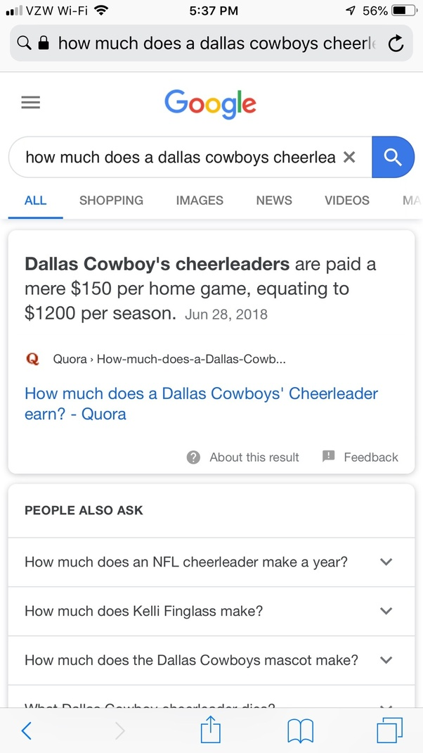 How much does a Dallas Cowboys' Cheerleader earn? - Quora