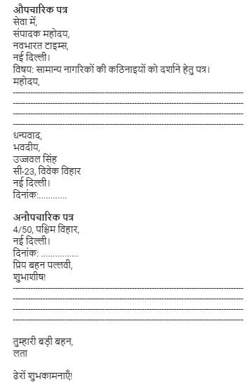 What is the current hindi letter writing format for both formal and here the format of both formal and informal altavistaventures Images