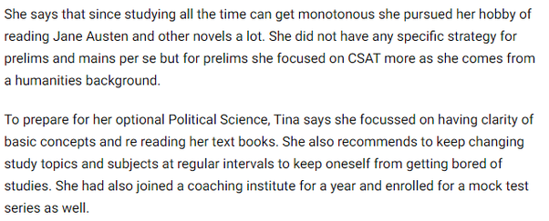 Which IAS coaching institute Tina Dabi joined for her