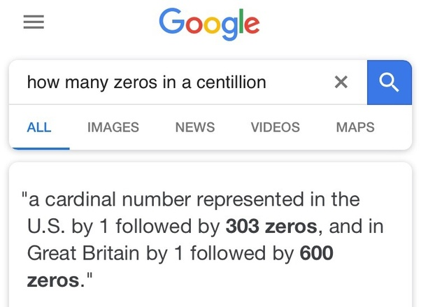 How many zeros are there in a centillion? - Quora
