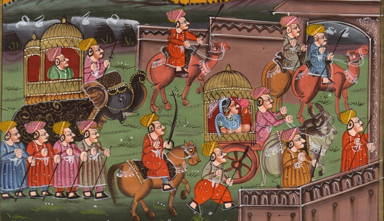 Hospitable Super Fine Indian Miniature Art Painting Rajashthani King And Queen Handmade Art