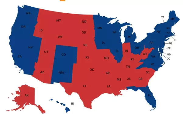 just by number of states and population it seems like democrats would get the north and republicans the south if we mark northsouth on