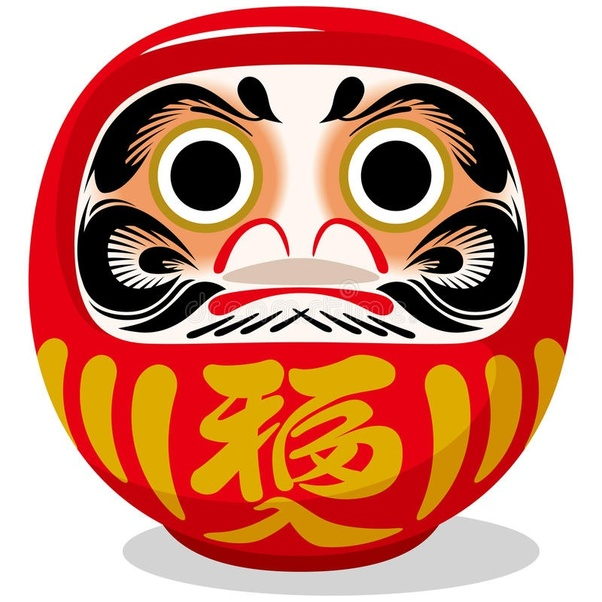 What is the meaning of the word or symbol on a Daruma doll's