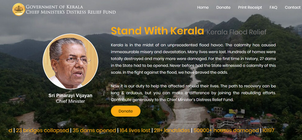 Donations pouring into Kerala CMDRF crosses 500 Crore