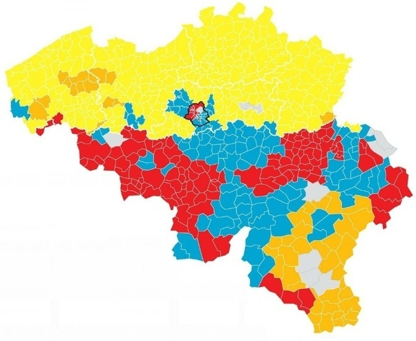 results of the 2014 federal elections each district is given the colour of the biggest party yellow nva orange catholic parties red socialist parties
