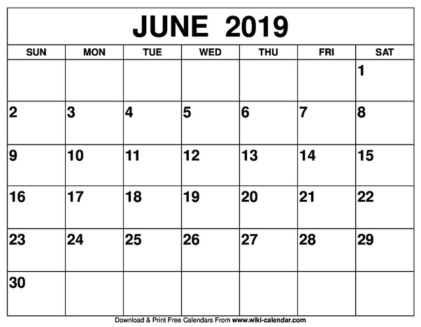 How To Get A Printed Or Printable Calendar For June 2019 Quora