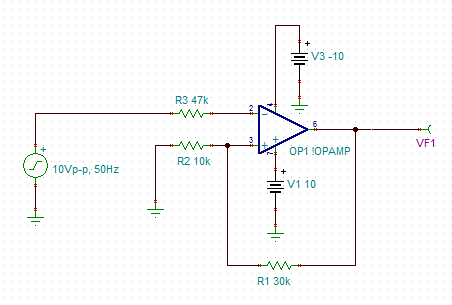 How could it be possible to convert sinusoidal to square wave using 10vp p is my sinusoidal input with 50hz frequency r2 and r1 are resistor values calculated values as mentioned above vf1 is the output v1 and v3 are vcc publicscrutiny Choice Image