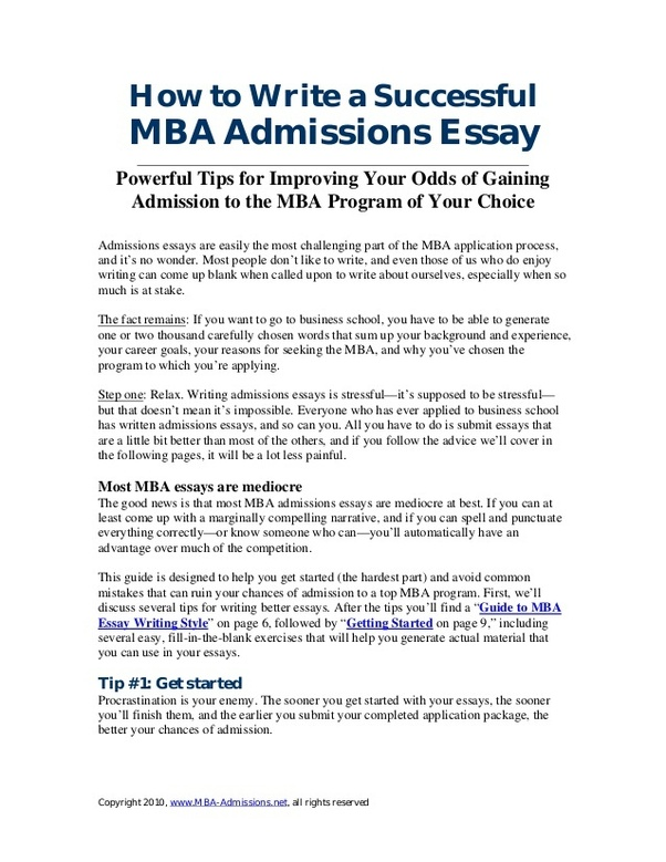 Mba admission essays