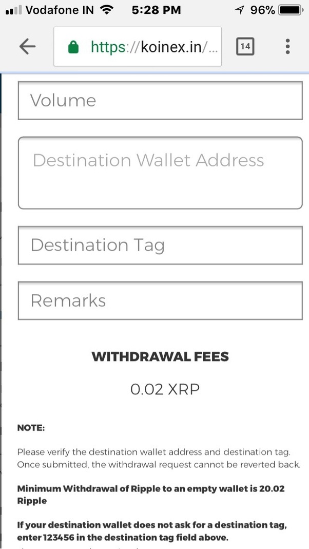 How to transfer my ripple coins from koinex to zebpay quora put the volume destination address destination tag is is a mandatory field as long as you are not sending it into your personal wallet ccuart Gallery