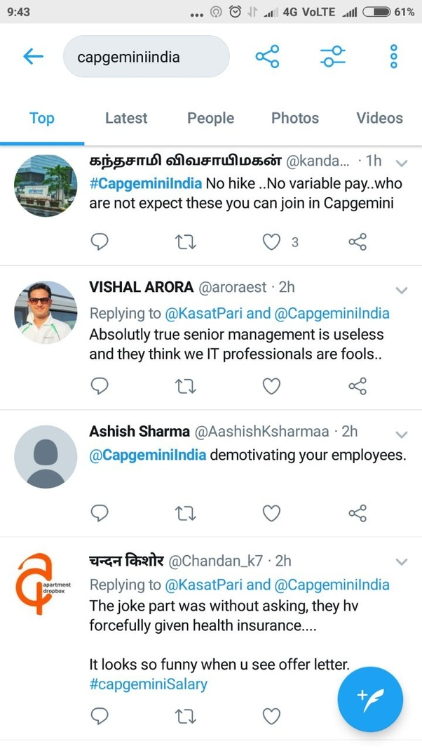 How much is CapGemini India hike percentage for employee? - Quora