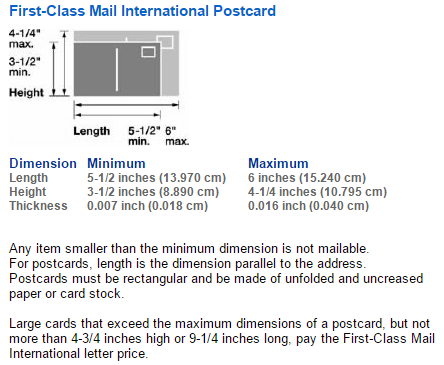 How much postage is required for a postcard from the USA to