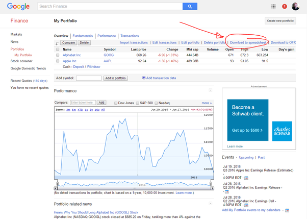 How To Download An Excel Spreadsheet Of Stocks Found From Google