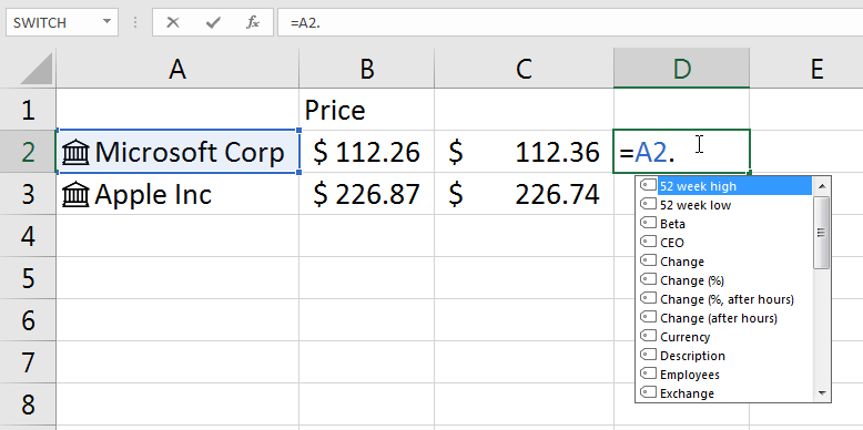 What is the Excel formula to get stock price data for a