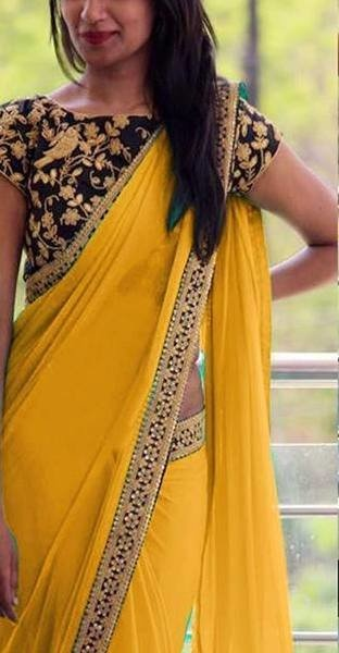 41fb45d1294bfb Which colour blouse will suit for a lemon yellow saree? - Quora