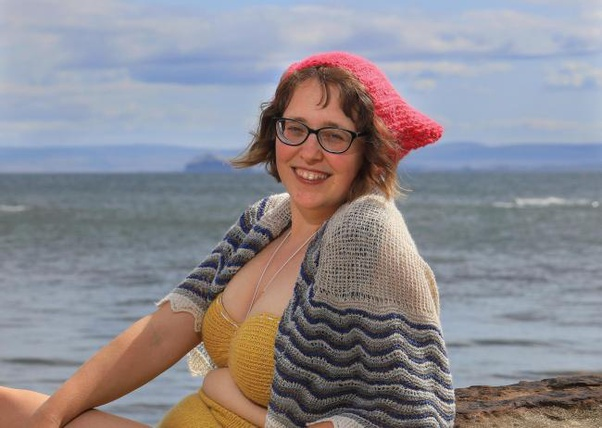 Author and wool expert Esther Rutter, a lady with a few smidges (though not as many as me - Ah! how blessed am I!), in her knitted bathing costume at East Neuk water.